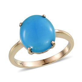 9K Y Gold Arizona Sleeping Beauty Turquoise (Ovl) Solitaire Ring 5.500 Ct.