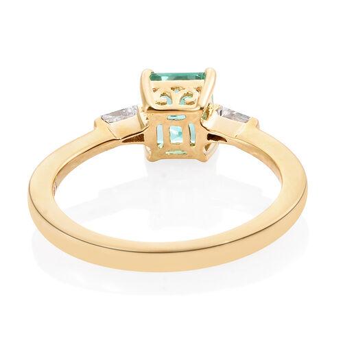ILIANA 18K Yellow Gold AAA Boyaca Colombian Emerald (Oct 1.08 Ct), Diamond (SI/G-H) Ring 1.250 Ct.