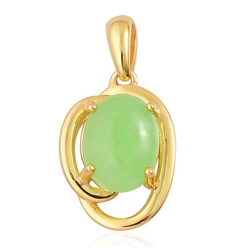 Chinese Green Jade (Ovl) Solitaire Pendant in Yellow Gold Overlay Sterling Silver 2.750 Ct.