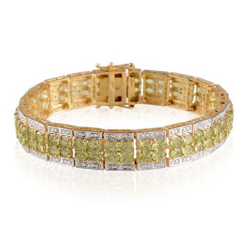 AA Hebei Peridot (Ovl), Diamond Bracelet in 14K Gold Overlay Sterling Silver (Size 7) 17.020 Ct.