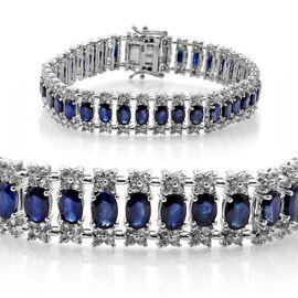 Kanchanaburi Blue Sapphire (Ovl), White Topaz Bracelet in Platinum Overlay Sterling Silver (Size 8) 20.000 Ct.