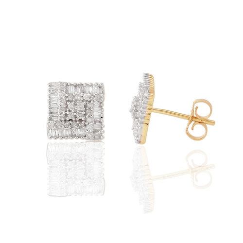 9K Y Gold SGL Certified Diamond (Rnd) (I3/G-H) Stud Earrings (with Push Back) 0.500 Ct.