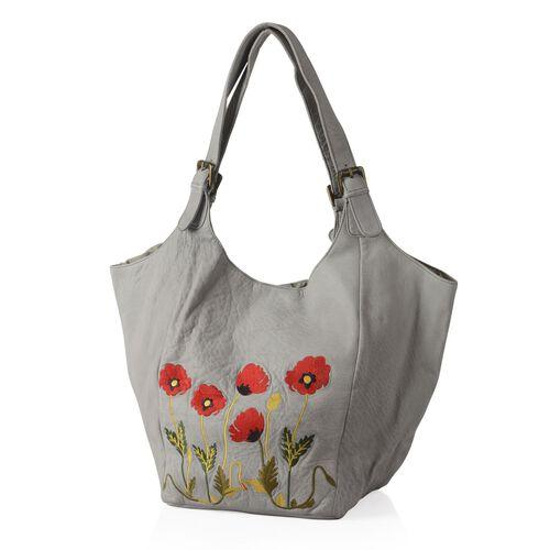 Genuine Leather Floral Embroidered Sky Blue Colour Handbag