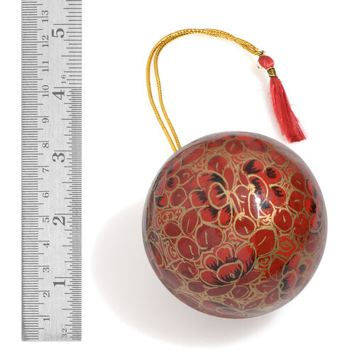 Christmas Decorations - Set of 3 Red and Multi Colour Wall Hanging Christmas Balls