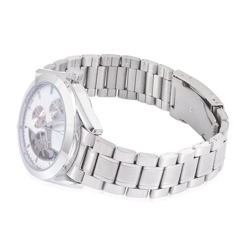GENOA Automatic Skeleton White Colour Dial Water Resistant Watch in Silver Tone With Chain Strap