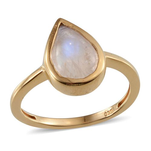 Rainbow Moonstone (Pear) Solitaire Ring in 14K Gold Overlay Sterling Silver 4.250 Ct.