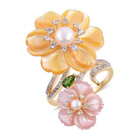 Jardin Collection - Yellow and Pink Mother of Pearl, Russian Diopside and Multi Gemstone Flower Ring in Rhodium and Yellow Gold Overlay Sterling Silver