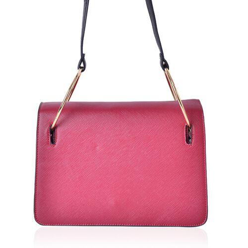 Red Colour Shoulder Bag with Metallic Hoop Attached Shoulder Strap (Size 27X19X8 Cm)