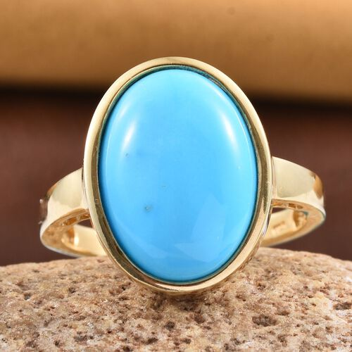 AAA Arizona Sleeping Beauty Turquoise (Ovl) Solitaire Ring in 14K Gold Overlay Sterling Silver 8.750 Ct.