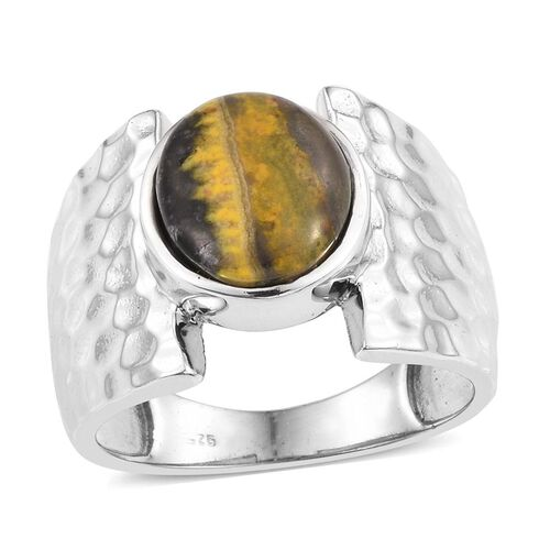 Bumble Bee Jasper (Ovl) Solitaire Ring in Platinum Overlay Sterling Silver 4.500 Ct.