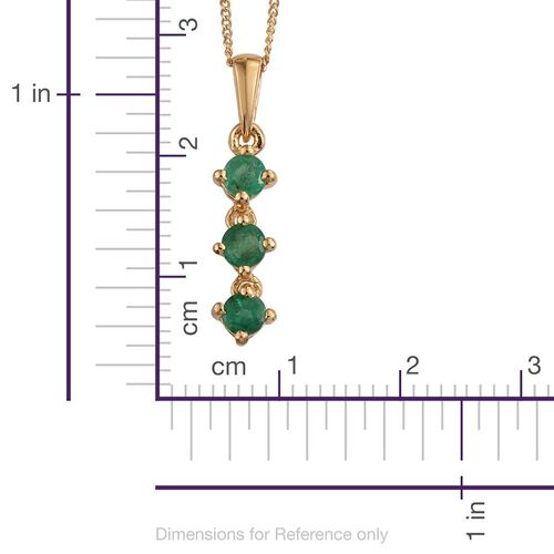Brazilian Emerald (Rnd) Trilogy Pendant With Chain in 14K Gold Overlay Sterling Silver 0.500 Ct.