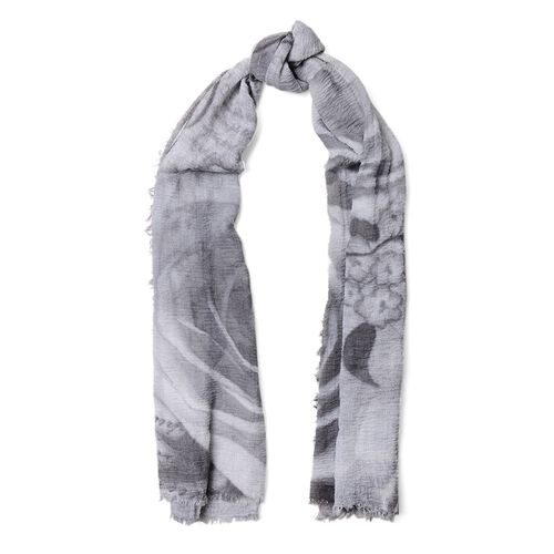 Black and Grey Colour Butterfly and Rose Flower Pattern Scarf (Size 180x90 Cm)