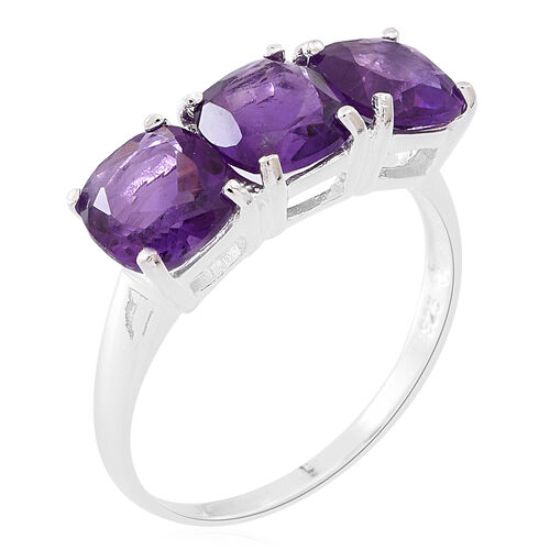 Limited Edition- Lusaka Amethyst (Cush) Trilogy Ring in Sterling Silver 3.750 Ct.
