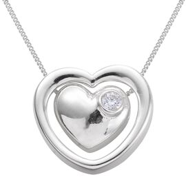 J Francis - Sterling Silver (Rnd) Heart Pendant With Chain Made with SWAROVSKI ZIRCONIA, Silver wt 4.04 Gms.