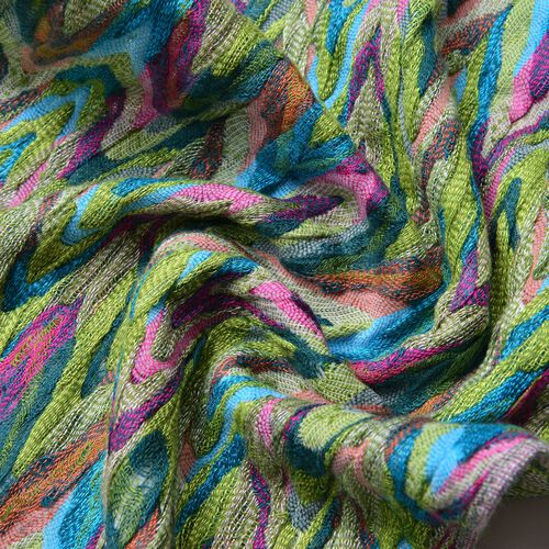 Italian Designer Inspired-Green, Pink and Multi Colour Zigzag Pattern Scarf with Tassels (Size 170X30 Cm)