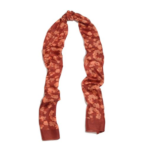100% Mulberry Silk Red Colour Water Stroke Hand Screen Printed Scarf (size 180X50 Cm)