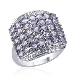 Tanzanite (Rnd), Diamond Ring in Platinum Overlay Sterling Silver 2.760 Ct.