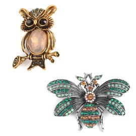Set of 2 - Simulated White Pearl, Grey, Black and Multi Colour Austrian Crystal Moth and Owl Brooch in Gold and Silver Tone