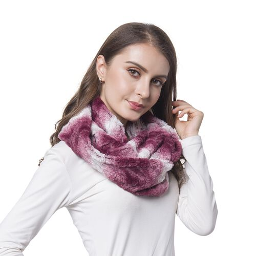 Burgundy and White Colour Wave Pattern Faux Fur Scarf (Size 80X20 Cm)