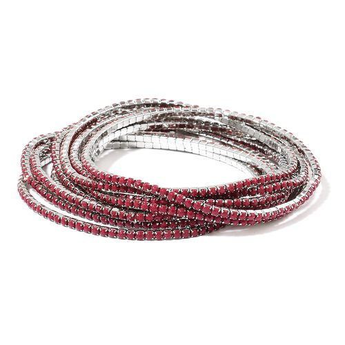 Set of 10 - Simulated Ruby Stretchable Bracelet (Size 7) in Silver Tone