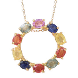 Rainbow Sapphire (Ovl) Circle of Life Pendant with Chain in 14K Gold Overlay Sterling Silver 2.500 Ct. Silver wt 5.10 Gms.
