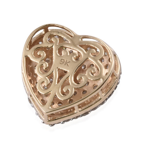 9K Yellow Gold SGL Certified Diamond (Rnd) (I2-I3/G-H) Heart Pendant 1.000 Ct.