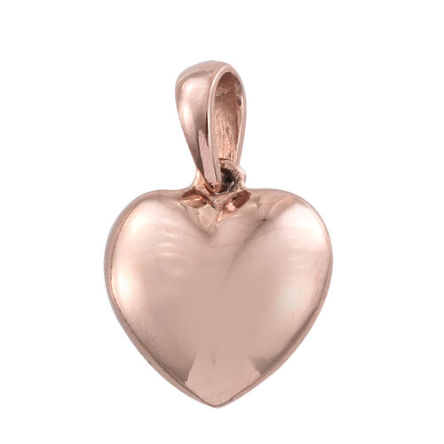 Rose Gold Overlay Silver Heart Pendant, Silver wt 2.60 Gms