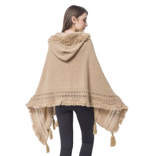 Khaki Colour Knitted Hoodie Kimono with Tassels (Size 190X60 Cm)