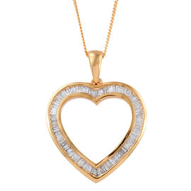 Diamond (Bgt) Heart Pendant With Chain in 14K Gold Overlay Sterling Silver 0.500 Ct.