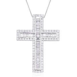 ILIANA 18K W Gold IGI Certified Diamond SI/G-H (Bgt) Cross Pendant With Chain 2.000 Ct.
