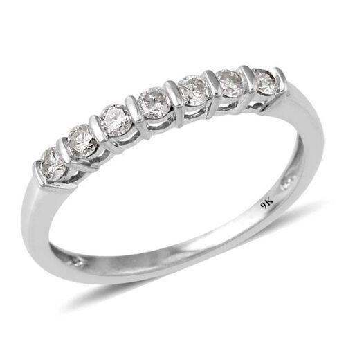 9K White Gold SGL Certified Diamond (Rnd) (I3/G-H) 7 Stone Ring 0.330 Ct.