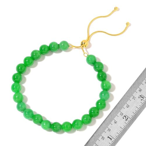 Rare AAA Green Jade Beads Adjustable Bracelet (Size 6.5 to 8.5) in Yellow Gold Overlay Sterling Silver 90.000 Ct.