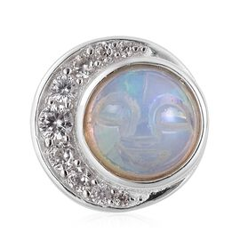 Smiling Face Carved Ethiopian Welo Opal (Rnd 1.15 Ct), Natural White Cambodian Zircon Pendant in Rhodium Plated Sterling Silver 1.485 Ct.