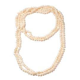 Double Shine Fresh Water White Pearl Necklace (Size 100)