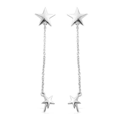 Silver Star Chain Ear Cuff Earrings in Platinum Overlay (with Push Back), Silver wt. 3.69 Gms.