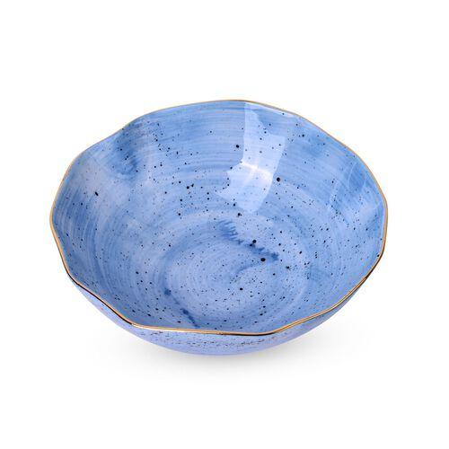 Luxury Edition Home Decor - 3 pcs Hand Painted Cobalt Blue Colour Top Grade Porcelain Dining Set