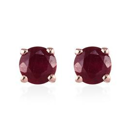 1 Carat African Ruby Stud Earrings in Rose Gold Plated Silver (with Push Back)