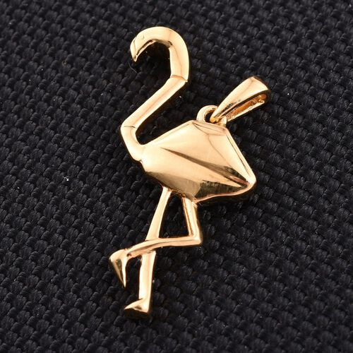 Origami Flamingo Silver Pendant in Gold Overlay, Silver wt 4.07 Gms.