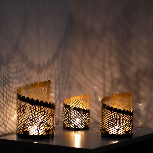 Set of 3 - Home Decor - Fancy Cut Work Brown Tea Light or Candle Holder