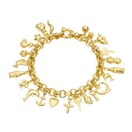 Italian Designer Inspired Vicenza Collection 9K Y Gold Multi Charm Bracelet (Size 7.5) (Gold Wt. 17.10 Gms)
