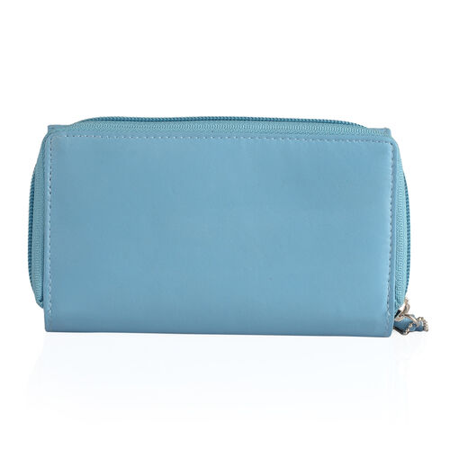100% Genuine Leather RFID Blocker Light Blue Colour Wallet with Multiple Card Slots (Size 15.5X9.5X3.5 Cm)