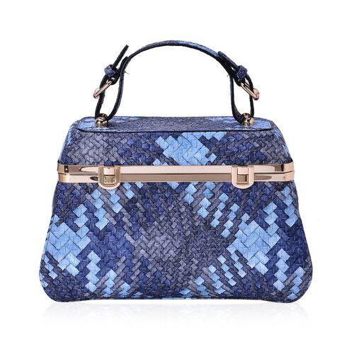 Sisley Weave Pattern Blue Colour Box Bag (Size 30x20x10 Cm)