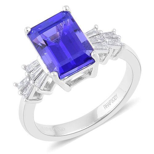 RHAPSODY 950 Platinum 5.07 Carat AAAA Tanzanite, 0.33 Ct Diamond (VS/E-F) Ring, Platinum 5.40 Gm