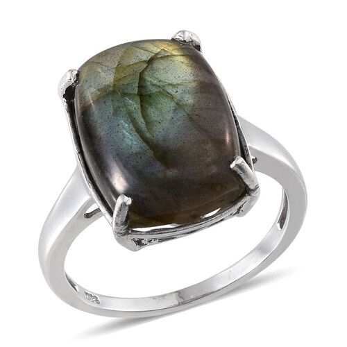 Labradorite (Cush) Ring in Platinum Overlay Sterling Silver 14.500 Ct.