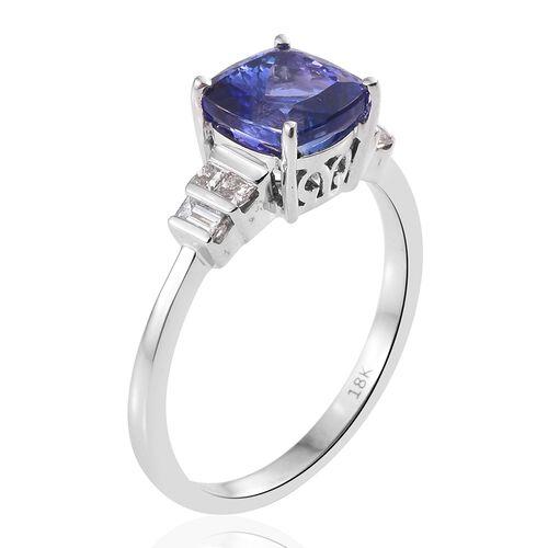 ILIANA 18K W Gold AAA Tanzanite (Cush 2.85 Ct), Diamond (SI/G-H) Ring 3.150 Ct.