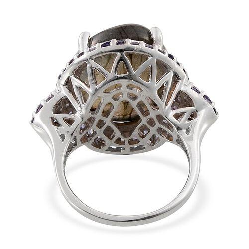 Labradorite (Ovl 18.15 Ct), Iolite Ring in Platinum Overlay Sterling Silver 20.000 Ct.