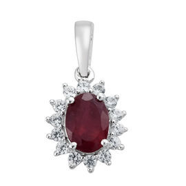 9K White Gold AA African Ruby (Ovl 1.07 Ct), Natural Cambodian Zircon Pendant 1.350 Ct.