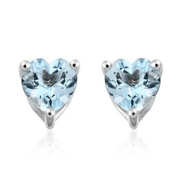 Limited Available-9K White Gold AA Santa Maria Aquamarine (Hrt) Stud Earrings (with Push Back) 0.750 Ct.