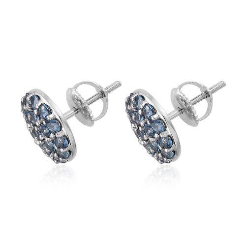 RHAPSODY 950 Platinum 1.25 Carat AAAA Santa Maria Aquamarine Pave Disc Stud Earrings with Screw Back