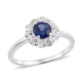 TJC Special Deal- Designer Inspired Premium Masoala Sapphire (Rnd 1.10 Ct), Natural Cambodian Zircon Ring in Sterling Silver 2.000 Ct.